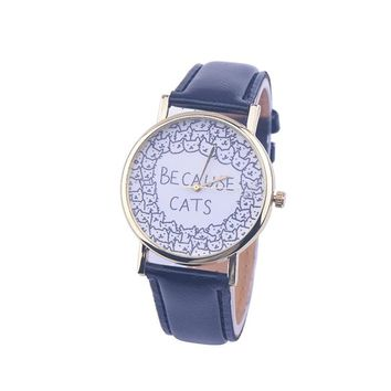 Watches For Women BECAUSE CATS Letters Print Quartz Watch Dress Hour Clock