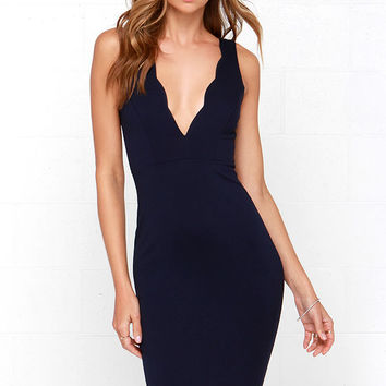 Work of Heart Midi Navy Blue Bodycon Dress