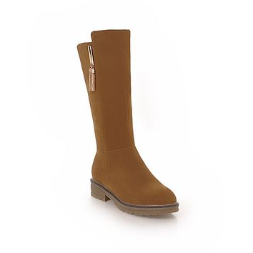 Faux Suede Mid Calf Boots Winter Shoes for Woman 8266