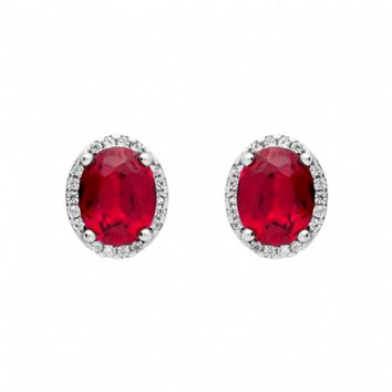 Margene's Oval Ruby Red & Pave Cubic Zirconia Stud Earrings