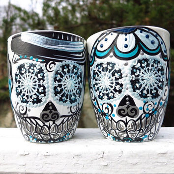 Hand Painted Winter Wonderland Sugar Skull Couple Mug Set