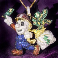 New Iced Out Cartoon Character Money Bag Pendant Chain
