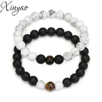 XINYAO 2017 Lovers Yin Yang Distance Bracelets Natural Stone Rose Quartzs Turquoises Agates Bead Bracelets For Women Men F5394