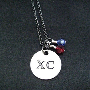 XC Round Pendant Necklace with 2 Team Color Crystals on Gunmetal chain - Choose Your Crystals - The Run Home's XC Charm - Cross County Team