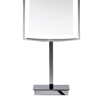 DWBA Square Cosmetic Makeup 5x LED Light Magnifying Table Mirror. Chrome