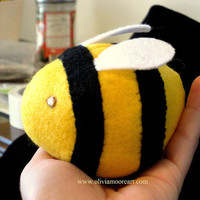 Handmade Crafts Hand Sewn Insect Bumble Bee by PoofyDove on Etsy
