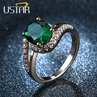 USTAR NEW 2017 AAA Zircon Green Crystals wedding rings for women rose gold color engagement rings female anel fashion Jewelry