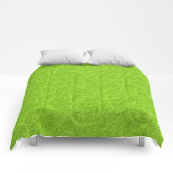 Lime green 3D carpet texture Comforters by Natalia Bykova