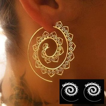 Swirl Hoop Gypsy Indian Tribal Ethnic Earrings Boho Earrings for Women Jewelry
