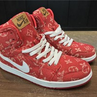 Louis Vuitton x Air Jordan 1 Red /White Basketball Sneaker