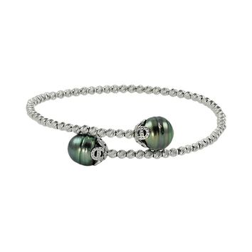 Sterling Silver Tahitian Cultured Pearl Bead Cuff Bracelet (Green)