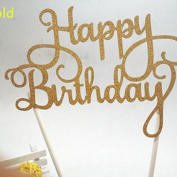 Glitter Script Personalized Birthday Cake Decorations