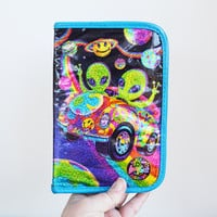 Vintage 90s Lisa Frank Zorbit and Zoomer Glitter Aliens Design Binder Book Organizer Address Agenda Book RARE Lisa Frank Collectible