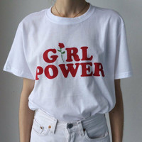 GIRL POWER T Shirt Women Loose Cotton Woman T-Shirt O Neck Shirts Casual Tshirt Print Tee Shirt SM6