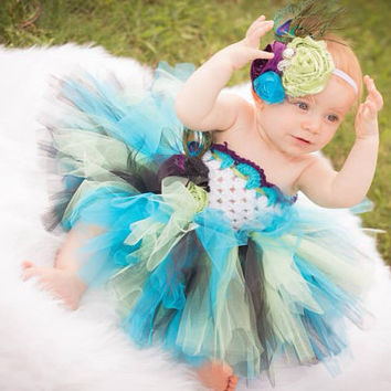 Peacock Tutu, Tutu, Headband, Peacock Headband, Hairbow, Accessory, Photo Prop, Photography Prop, Newborn Purple, Green, Black, Teal