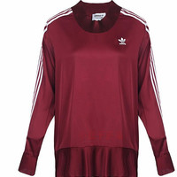 adidas Originals High Neck Long Sleeve Top With Pleated Detail