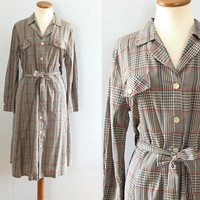 70s plaid shirtdress - vintage handmade black gray orange green long sleeve full skirt collar paper thin cotton fit flare midi button up