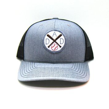 Sport Dad Hat - Gray and Black Snapback with Baseball Patch