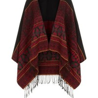 Black and Burgundy Ethnic Print Blanket Wrap