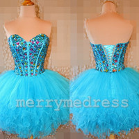 Beads Ice Blue Sweetheart Strapless Ball Gown Short Cocktail Dress, Mini Organza Formal Evening Party Prom Dress New Homecoming Dress