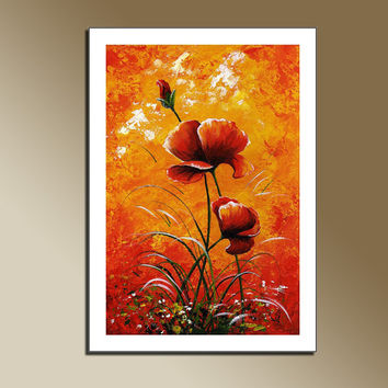 Print of Original acrylic painting Red Poppies Wall hanging Decorative Art