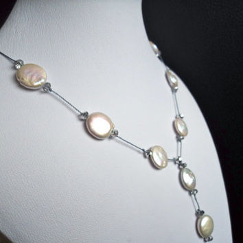 White Coin Pearl Necklace by Lunarpearl on Etsy