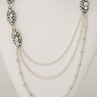 Haute Bride Necklaces, Long Pearl & Brooch Necklace, Style N304