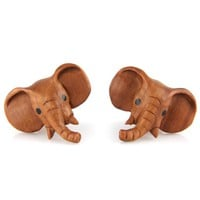 Evolatree - Elephant - Wood - 10mm - 00 Gauge Earrings - Plugs