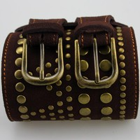 Women's Double Buckle Leather Belt