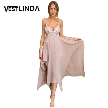 VESTLINDA Sexy Summer Maxi Dress Women Spaghetti Strap Backless Long Party Dresses Female Pleated Asymmetrical Hem Evening Dress