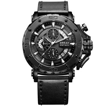 BREAK Chronograph Quartz Watches Military Genuine Leather Luxury Brand Fashion Casual Sport Wrist Watch Relogio Masculino