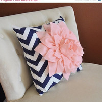 MOTHERS DAY SALE Light Pink Dahlia on Navy and White Zigzag - Pillows - Chevron Pillow