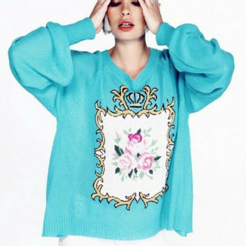 Pastel Goth Royal Antoinette Floral Sweater