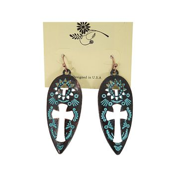 Boho Aztec Cross Cutout Etched Teardrop Earrings