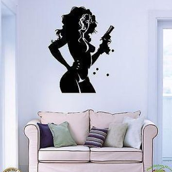 Wall Stickers Vinyl Decal Gangster Sexy Girl With Gun Unique Gift z1143