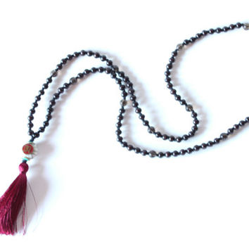108 Hand-Knotted Red Sandalwood Beads and Faceted Smokey Quartz with Silk Tassel