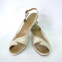 Vintage 50 shoes Clear Vinyl Marcasite Studs Cream Leather Penaljo Peep toe Wedge hill Sandals