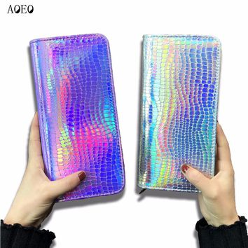 AOEO Hologram Wallet Female Clutch Long Holographic Ladies Bag Girl With Zipper Coin Purse Card Id Holders Women Wallets Handy