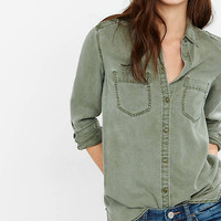 Olive Green Silky Soft Twill Boyfriend Shirt from EXPRESS
