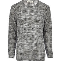 River Island MensGrey open knit crew neck sweater