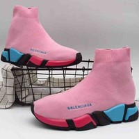 Balenciaga high top tide brand trendy women casual stretch sneakers F-A36H-MY Pink