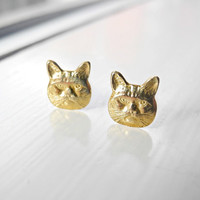 Cat Earring Studs,Sterling Silver Earring Posts,Cat Jewelry,Kitten Kitty Earrings,Gold Brass Cat Earrings,Pet Jewelry,Hypoallergenic Studs