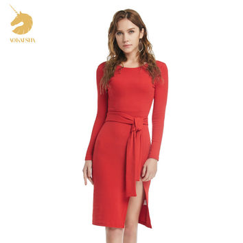 2016 Winter Autumn WomenDress New Ladies Sexy Vintage Dress High Waist Party Dresses Sexy Red Women Knee-Length Dress  M15483