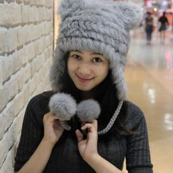 New Winter Women Fashion Genuine Rabbit Fur Cap With Bear Ears Cute Warm  Fur Knitted Hat Soft Fur Hat With Two Ears Lovely Hat