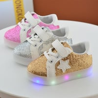 Baby Girls Fashion soles toddle LED Shoes Kids Light Up Glowing Sneakers Little Girls Princess with luminous sneakers shoes
