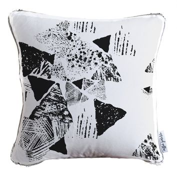Monochrome Abstract Decorative Throw Pillow w/ Silver & White Reversible Sequins   COVER ONLY (Inserts Sold Separately)