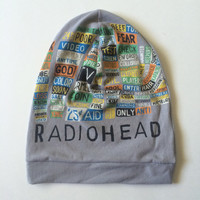 RADIOHEAD Child Slouchie Beanie - Upcycled Rock/Concert T-shirt