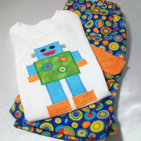 Boys  Short Outfit - Toddler Summer Clothes - Robot Shirt