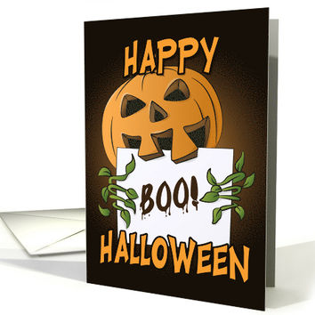 Pumpkin Holding Boo Sign for Happy Halloween card