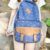 Sweet Cute White Tiny Dot Canvas Backpack